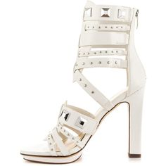 Fergie Women's Bonnie - White ($95) ❤ liked on Polyvore featuring shoes, sandals, high heel platform sandals, strappy sandals, high heel gladiator sandals, white gladiator sandals and gladiator sandals
