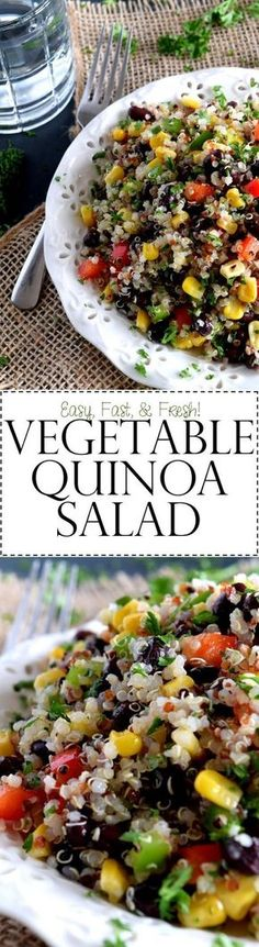 Vegetable Quinoa Salad - A light and refreshing, veggie-packed summer salad with the wholesome goodness of quinoa. Fast and easy to prepare, Vegetable Quinoa Salad is a great side or main dish!