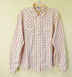 Rockies Plaid Snaps Western Shirt XXL Peach White Brown Teal #Rockies #Western #Casual