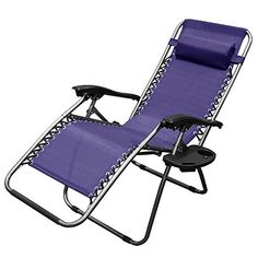 (2) Zero Gravity Chair Recliner UtilityTray Pool , Navy Blue. Product Description Zero gravity (or anti-gravity) chairs are designed with comfort in mind, so much so that that they're widely used not only as camping, patio and pool furniture, but also in beauty salons, offices all across the world and as a reflexology chair Included is a removable / adjustable pillow, great for use as a headrest or for the perfect lumbar support UV-resistant high quality breathable mesh fabric and a...