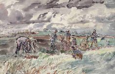 thomas hennell potato harvest at ridley - watercolour