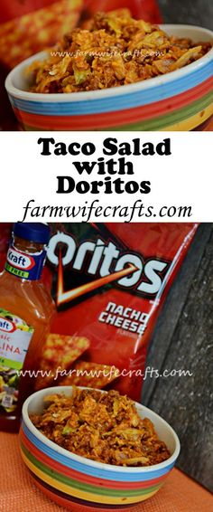 Salad Do your kids love Doritos They will love this taco salad that has their favorite chip mixed in!Do your kids love Doritos They will love this taco salad that has their favorite chip mixed in! Dorito Taco Salad Recipe, Taco Salad Doritos, Taco Salad Bowls, Taco Salad Recipes, Soup And Salad, Beef Recipes, Mexican Food Recipes, Cooking Recipes, Taco Taco