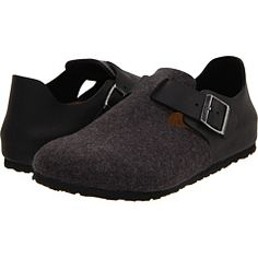 London (Anthracite/Black Wool & Oiled Leather) Slip on  Shoes