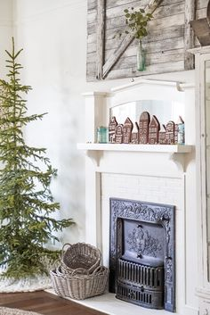 Simple Vintage Farmhouse Christmas Decor Ideas Gingerbread Village White Christmas Decor