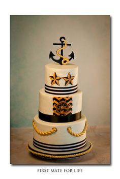 Round Wedding Cakes - All buttercream, fondant accents. Couple met on a tall ship working together. Incorporated elements from the invitation.