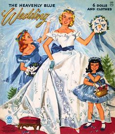 The Heavenly Blue Wedding, vintage paper dolls