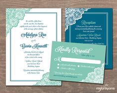 Lace Wedding Invitation Set // DIY Printable by MyCrayonsPapeterie