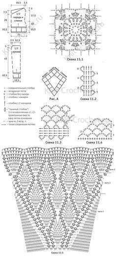 Padrão, padrões de circuitos com uma descrição do crochet set verão feminino: pullover e saia tamanho 44-46.