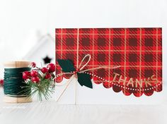 Tartan inspired thank you cards. Or is it plaid? You would think living in Scotland I'd know the difference but when stamping and stencilling for todays proje Penny Black, Card Making Inspiration, Making Ideas, Holiday Cards, Christmas Cards, Christmas Paper, Magenta, Christmas Thank You, Thanks Card