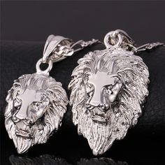 Hiphop Gold Chain For Men/Women 18K Real Gold Gold Plated Figaro 2 Size Lion Head Pendant Statement Necklace Men Jewelry P585