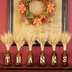 DIY Jars of Thanks holiday, craft, thanksgiving decorations, mantel, jar, fall decorations, beer bottles, wine bottles, mantl