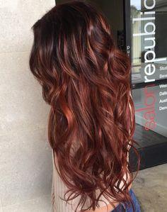 Red Hair Color : Auburn Hair Rich Red Curls for Long Hair - Beauty Haircut Auburn Ombre Hair, Natural Auburn Hair, Natural Brown Hair, Dark Auburn Hair, Auburn Balayage, Balayage Hair Blonde, Reddish Brown Hair, Shades Of Red Hair, Red Hair Color