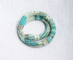 Beaded crochet necklace,turquoise necklace,patchwork,Bead Crochet Rope,Necklace,beaded jewerly,Bead crochet,Crochet Necklace,Bead Necklace on Etsy, $87.00