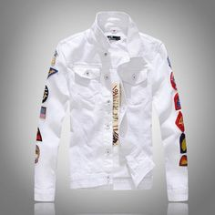 Hip Hop Patch Designs Military Style Casual Denim Jacket Men Slim Fit Jaqueta Jeans Mens Jackets and Coats White Army Green Denim Jacket Fashion, Denim Jacket Men, Bomber Jacket Men, Denim Outfit, Denim Jackets, Casual Jackets, Jackets Fashion, Bomber Jackets, Jean Jackets