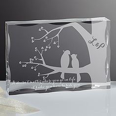 "What a romantic wedding gift idea! ""It Doesn't matter where you go in life, it's who you have beside you."" - love this saying and the pretty love birds design - you can personalize it with any 2 initials!"