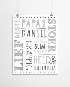 Origineel vaderdag cadeau: gepersonaliseerde papa poster met eigen namen