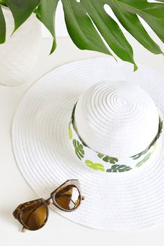 DIY tropical leaf hat band for Merry Mag Summer #merrymagsummer