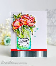 Just the Jar: Quart Mini Stamp Set: Papertrey Ink Clear Stamps Dies Paper Ink Kits Ribbon Card Making Inspiration, Making Ideas, Mason Jar Cards, Mason Jars, Beautiful Handmade Cards, Ink Stamps, Watercolor Cards, Watercolour, Copics