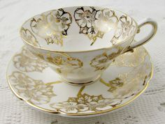 Vintage Tea Cup and Saucer by Stanley, Gold Flowers, Bone China