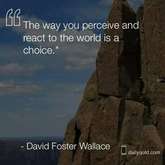 """""""The way you perceive and react to the world is a choice.""""    ~~~   David Foster Wallace"""