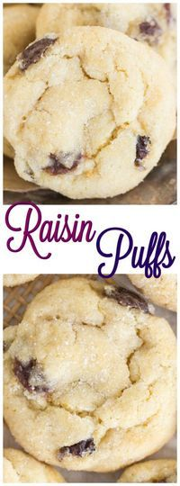 Raisin Puffs Sugar Cookies - The Gold Lining Girl These Raisin Puffs are remarkable! Like incredibly soft sugar cookies, and light as air. Soft, puffy, and thick! With a heap-ton of raisins – simmered to bring out deeper and richer flavor. Raisen Cookies, Raisin Filled Cookies, Soft Sugar Cookies, Sugar Cookies Recipe, Amish Recipes, Baking Recipes, Cookie Recipes, Dessert Recipes, Cookie Ideas