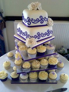 Purple Wedding Cupcake Tower by Creations By Paula Jane, via Flickr