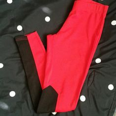 Red Stretch Pants NWOT Super cute and fun Red stretch pants with black ribbed material on the inside of the calf's. Not just your plain stretch pants ?? Thanks for shopping! Pants