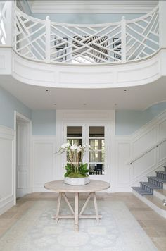 Chippendale Stair Railing | Home with Classic Blue and White Interiors #design #interiordesign