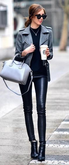 Beautiful outfit idea : grey biker jacket + bag + leather skinnies + black top + boots