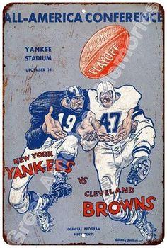 1948 Buffalo Bills vs New York Yankees vintage reproduction metal sign 8 x 12