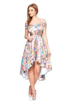 StarShinerS Enjoy Summer Purple Dress, short sleeves, print details, back zipper fastening, asymmetrical cut, slightly elastic fabric