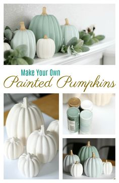 Make your own set of ceramic painted pumpkins to match your fall decor this year! A quick and easy afternoon project. Make your own set of ceramic painted pumpkins to match your fall decor this year! A quick and easy afternoon project. Thanksgiving Diy, Thanksgiving Decorations, Seasonal Decor, Harvest Decorations, Cheap Fall Decorations, Thanksgiving Birthday Parties, Thanksgiving Tablescapes, Fall Home Decor, Autumn Home