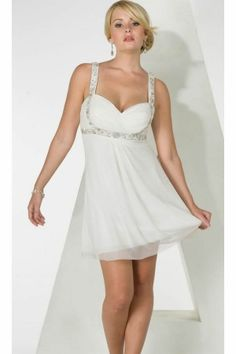 White Empire Short/Mini Empire Prom Dress For Bachelorette PD134D