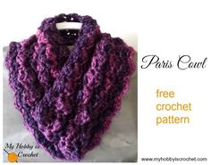 Crochet Scarf Patterns Paris Cowl - Free Crochet Pattern using 1 skein of Red Heart Boutique Infinity yarn - The Paris Cowl is a soft and cozy crochet cowl that works up very fast and uses only one ball of bulky yarn. One Skein Crochet, Crochet Scarves, Crochet Shawl, Crochet Clothes, Crochet Stitches, Free Crochet, Free Knitting, Crocheted Hats, Knitting Machine