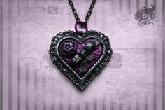 Gothic miniature chocolate box pendant handmade in black & violet purple - polymer clay and metal with ribbon and rose - Goth valentine gift