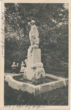 alte AK Leipzig 1915, Kinder am Schäferbrunnen