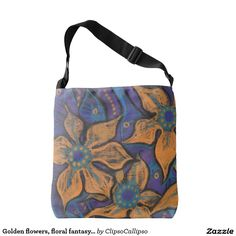 Golden flowers, floral fantasy, orange black blue tote bag  #flower,  #floral, #bright, #catchy, #decorative, #orange, #black, #purple, #turquoise, #golden, #fancy, #whimsical, #saturated, #colorful, #handdrawn, #art, #painting, #pastel, #softpastels, #drawing, #bold, #bright, #psychedelic, #psychodelic, #vivid, #flamboyant, #mind-blowing, #contrasty,  #flashy, #fantasy, #floralfantasy, #fantasia, #fantastic, #enchanting, #magical, #bizarre, #delirious, #flowers, #capirce, #whim…
