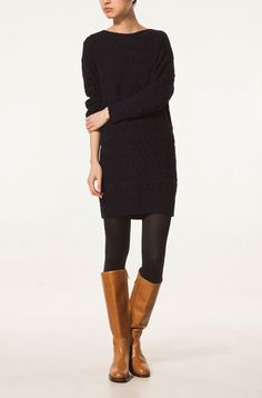 black horizontal braided sweater dress with tan boots. Massimo Dutti