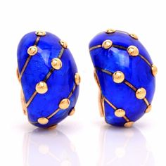 Tiffany & Co. Jean Schlumberger 18K Yellow Gold & Paillone Enamel 'Banana' Clip-On Earrings Item #: 601402