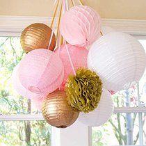 SUNBEAUTY 11er Set Gold Rosa Weiß Tissue Papier Honeycomb Wabenball Lampion Pom Poms Party Feier Geburtstag Hochzeit Dekoration