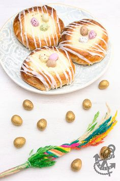Polish Cheese Buns with Chocolate Eggs