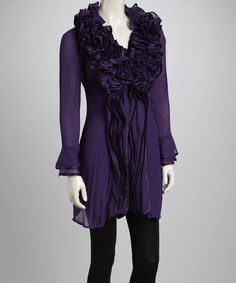 Take a look at this Purple Ruffle Silk-Blend Long-Sleeve Tunic by Pretty Angel on #zulily today!