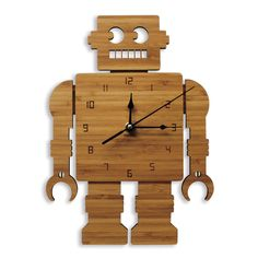 Retro Robot Wooden Wall Clock | Laser cut Nursery & Kids Decor
