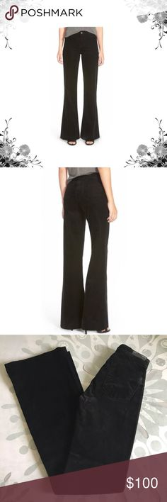"""J Brand Deep Black High Waisted Flare Corduroys Sz 24 available now. More sizes coming soon! These ultra-soft and flattering cords are a retro dream! 😍 Approx 12 1/4"""" waist across, 9"""" front rise, 11 1/2"""" back rise. Approx 34"""" inseam on Sz 24. Price tag has been cut but is still intact. Bundle for discounts! Thank you for shopping my closet! Bin 10 J Brand Pants Boot Cut & Flare"""