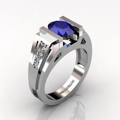 Mens Modern 14K White Gold 1.5 Ct Oval Blue by GormanDesigns