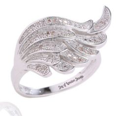 18K White Gold and White Sapphire Accents Wing of Hope and Inspiration Promise Engagement Bridal Ring