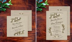 Save the date and invitation inspired on Pantone's Dried Herb color by Ana de Sousa