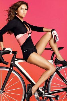 looks kinda like Eva Longoria though! Cycling Girls, Cycling Wear, Cycling Outfit, Bike Wear, Eva Longoria, Mtb, Mens Bike Shorts, Chicks On Bikes, Fitbit