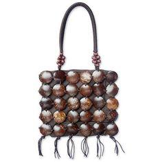 NOVICA Coconut shell handbag (€67) ❤ liked on Polyvore featuring bags, handbags, shoulder bags, accessories, brown, clothing & accessories, brown hand bags, purse shoulder bag, shell purse and man bag