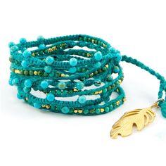 大人気新作 New Turquoise Necklace with Gold Vermeil Nuggets and Feather Pendant チャンルー ラップブレスレット FG39 57hv